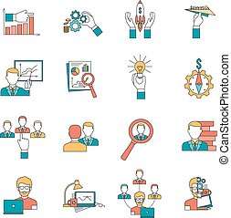Business icons set - Business with startup ideas realization...