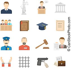 Justice flat icons set - Criminal case proceeding flat icons...
