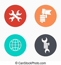 Vector modern labour day colorful icons set on white...