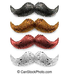 Fake moustaches color set - Old fashion upper lip long wax...