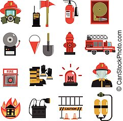 Fire Icon Flat - Fire and firefighter equipment icon flat...