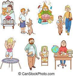 Parents with children cartoon icons collection - Parents...