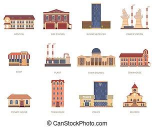 City buildings vintage icons set - Vintage city buildings of...