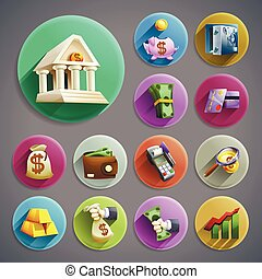 Banking icons set - Banking business cartoon round icons set...
