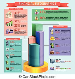 Financial infographic set - Financial and banking cartoon...