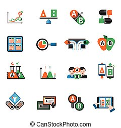 A-b Testing Icons Set - A-b testing split research study...