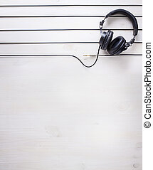 art music studio background with dj headphones - music...
