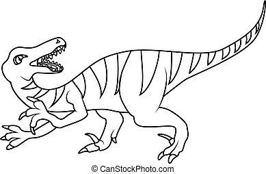 colorido, book:, Velociraptor, Dinosaurio,