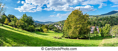 Panoramic view of the black forest in Baden-Baden. Germany....