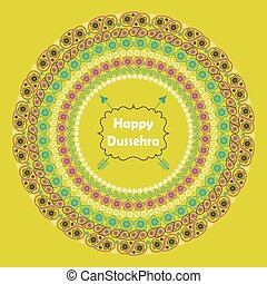Happy Dussehra.Paisley circle frame in holiday background -...