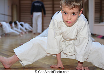 karate boy in sport hall