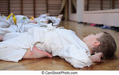 karate, niño, deporte, vestíbulo, Marcas,...