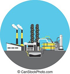 Colorful factory with NPP picture in round