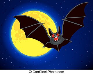 Moon on starry sky - Bat on the Full Moon and starry sky...