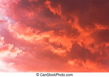 Evening sky - Background of the blood red evening sky and...