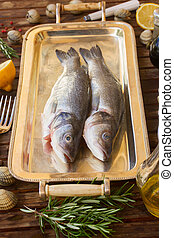 Seabass - Two raw Seabass  fish on silver tray
