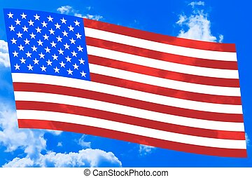 USA flag on sky - Flag of the United States on the blue sky...