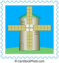 Windmill on stamp