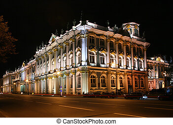 State Hermitage at night (Saint-Petersburg, Russia)