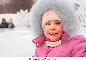little girl outdoors in winter