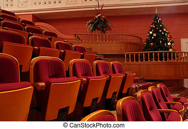 Theater chairs and christmas tree