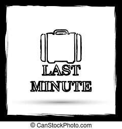 Last minute icon Internet button on white background Outline...