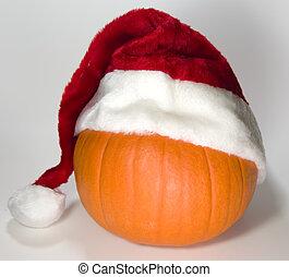 Santa Pumpkin - Pumpkin with santa hat for early Christmas...