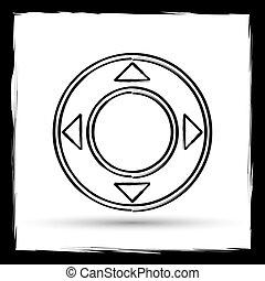 Joystick icon. Internet button on white background. Outline...