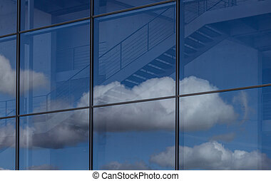 blue sky and clouds reflection in o