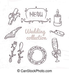 Set of hand drawn wedding table decoration in outline style