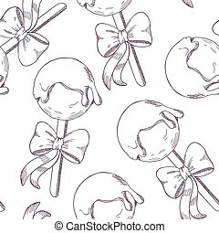 Outline cake pops with bow seamless pattern Sketch style...