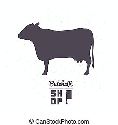 Cow silhouette. Beef meat. Butcher shop logo template for...