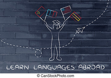 learn foreign languages abroad, person with flags and airplane in the background