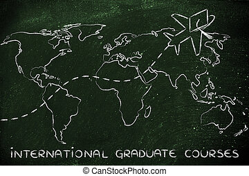 international graduate courses, airplane wearing graduation hat flying across the world