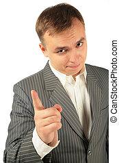 hombre de negocios, amonestar, dedo