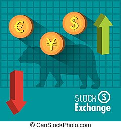 Business stock exchange design over blue background, vector...