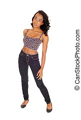 African american woman in jeans.