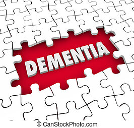 Dementia Puzzle Pieces Hole Aging Memory Loss Alzheimers...