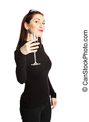 Attractive woman with wine glass - Woman in her 20s standing...