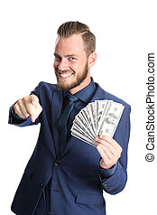 Successful businessman with cash - Attractive businessman...