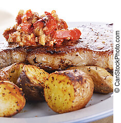 Loin Steak with Potatoes and Sauce - Seared Loin Steak with...