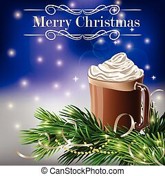 Christmas New Year design with hot chocolate - Christmas New...