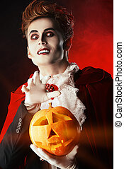 classical vampire - Portrait of a handsome vampire with...