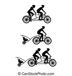 Silhouette of family on bicycles. Bicycle and...