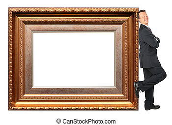 businessman stands near Picture frame baget collage