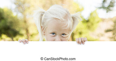 Cute Little Girl Holding White Board with Room For Text -...
