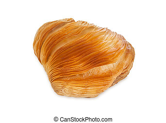 Neapolitan sfogliatella riccia isolated on white background