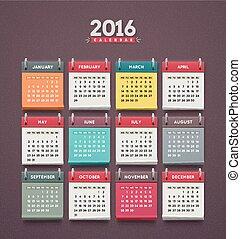 Calendar 2016, week starts on monday, eps 10
