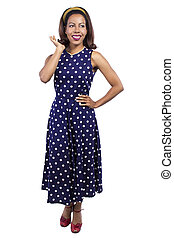 Retro Girl Wearing Vintage Polka Dot Dress - Black female...