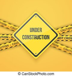 Under Construction Vector Background with Yellow Police Lice...